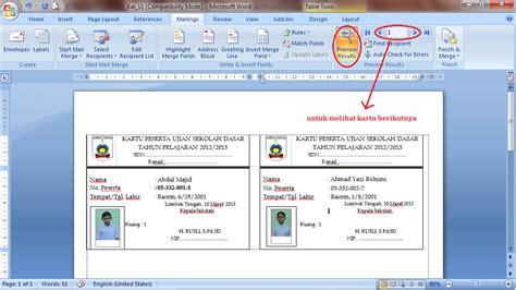 membuat kartu nama menggunakan mail merge dakhlan blogger membuat kartu ujian menggunakan mail
