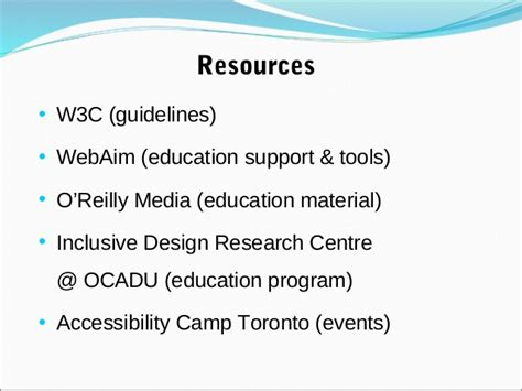 accessibility design guidelines toronto accessibility and information systems