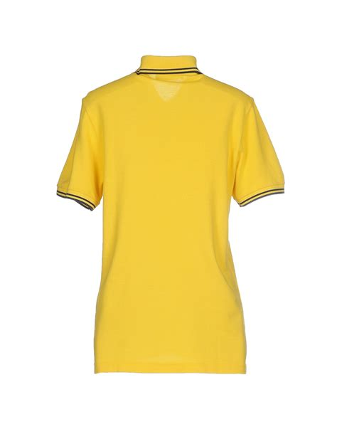 Polo Yellow lyst fred perry polo shirt in yellow