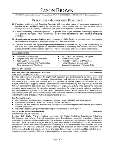 Sle Resume Of An Operations Manager Operations Officer Resume Sales Officer Lewesmr
