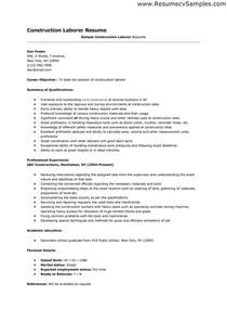 sle construction worker resume sle resume format