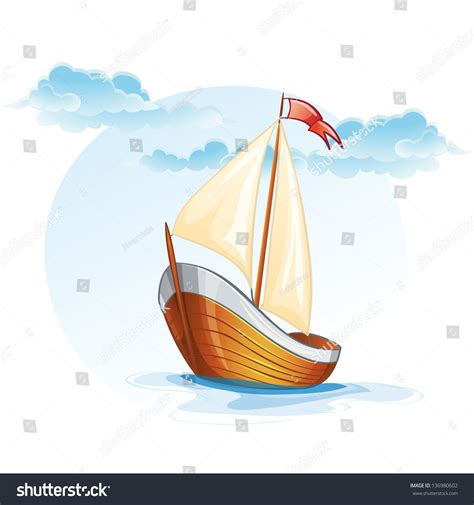 wood boat vector cartoon image wooden sailing boat vector stock vector