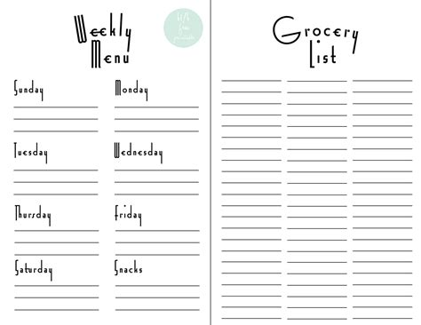 printable grocery list with menu hello there house kitchen revival weekly menus