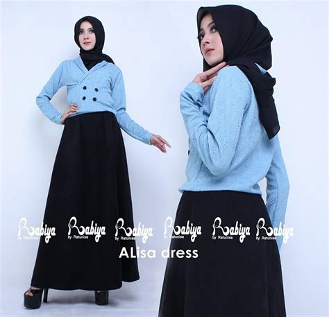 Dres Muslimah Model Ruby Dress Soft Blue Terlaris alisa dress biru baju muslim gamis modern