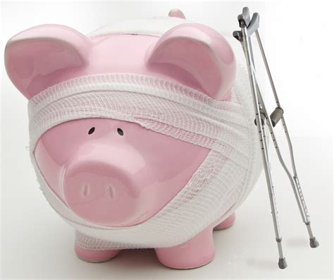piggy bank bankruptcy information injured piggy bank with crutches