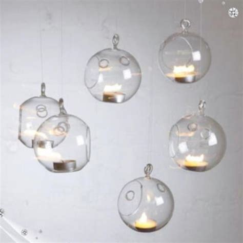 Glass Hanging Candle Holders Set Of Six by Set Of 6 Hanging Glass Bauble Tea Light Candle Holder