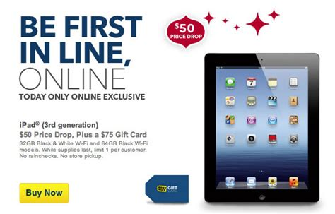 Best Buy Ipad 50 Gift Card - best buy offering ipad 3rd gen for 50 off with 75 gift card mac rumors