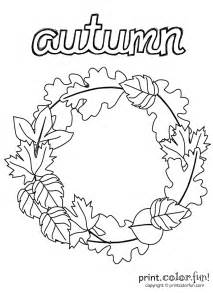 autumn wreath coloring print color fun