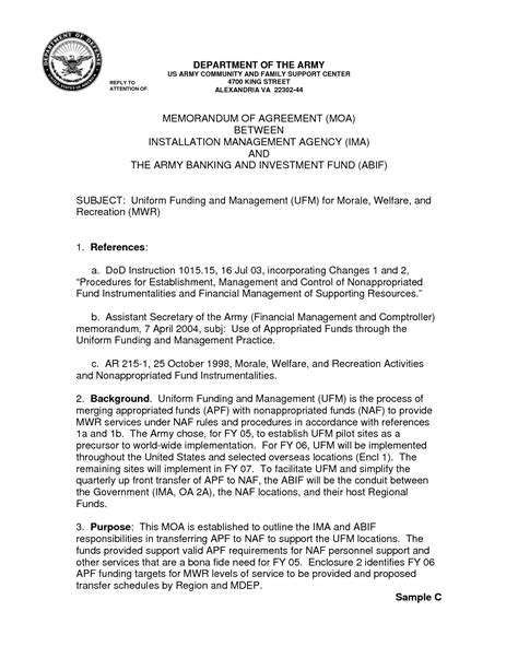 Letter Of Agreement Vs Memorandum Of Understanding 13 Best Images Of Army Memo Of Understanding Template Record Exle Army Memorandum Army