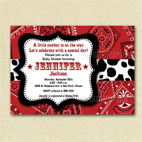 western cowboy bandana baby shower invitation printable