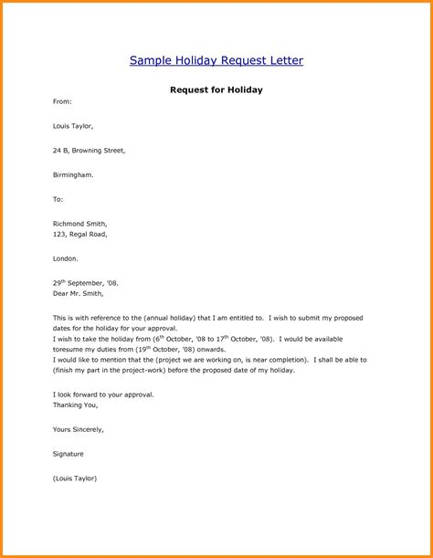 request letter format for vacation leave fresh beautiful