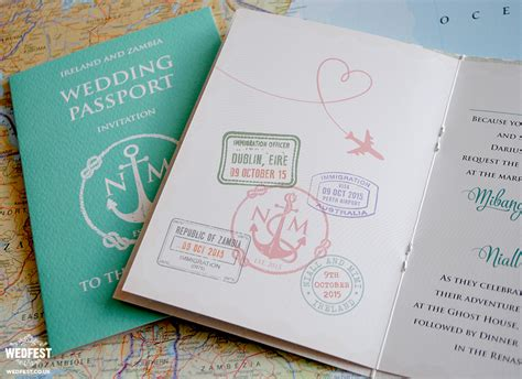 theme wedding invitation ideas passport wedding invitations wedfest