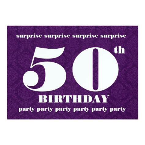 50th surprise birthday party template royal purple 5 quot x 7