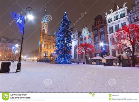 christmas tree in winter scenery of gdansk old town stock