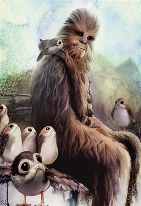 the last jedi chewbacca and the porgs milners