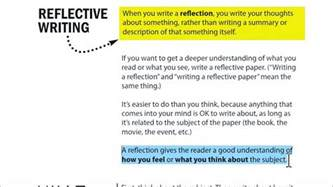 exle of reflection essay writing a reflection