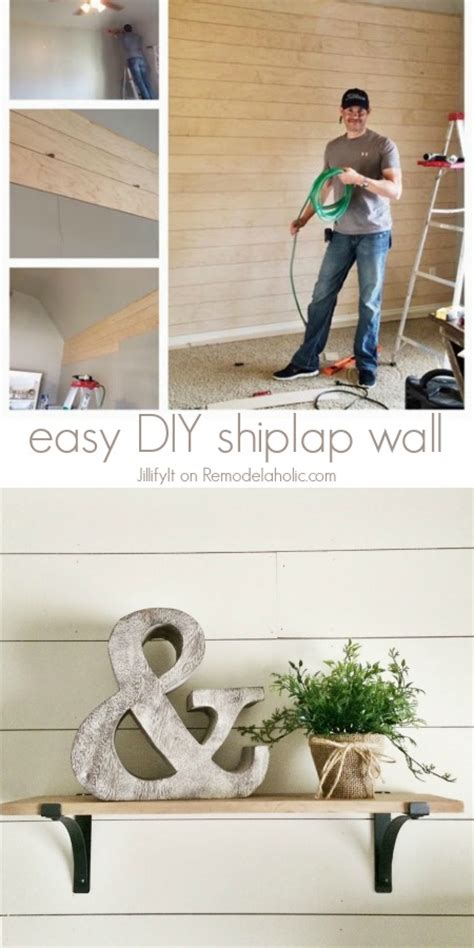 Easy Shiplap Wall Remodelaholic How To Install A Shiplap Wall Rustic