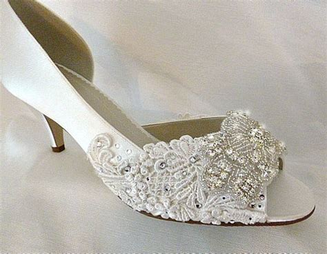 Bridal Slippers With Heel by Low Heel Wedding Shoes Embroidered Lace Bridal Shoes