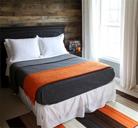 gray and orange bedding like the idea of a gray comforter with orange pillow case