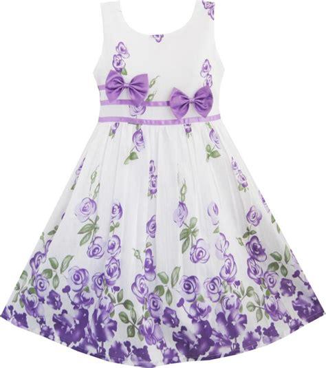 Dress Fashion Flower 4 fashion dress purple flower bow tie sundress 2018 summer
