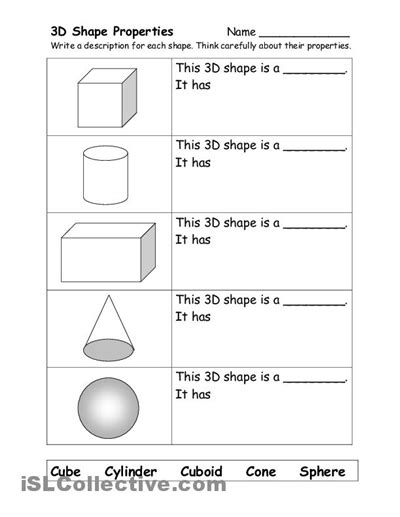 Three Dimensional Shapes Worksheets For Grade by 10 Best Images Of 3 Dimensional Shapes Kindergarten