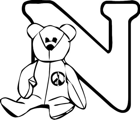 coloring pictures of letter n letter n coloring page