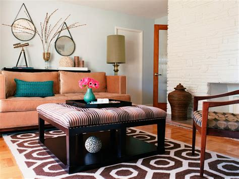 White Brick Wall Living Room by Eclectic Living Room With Brown Upholstered Coffee Table