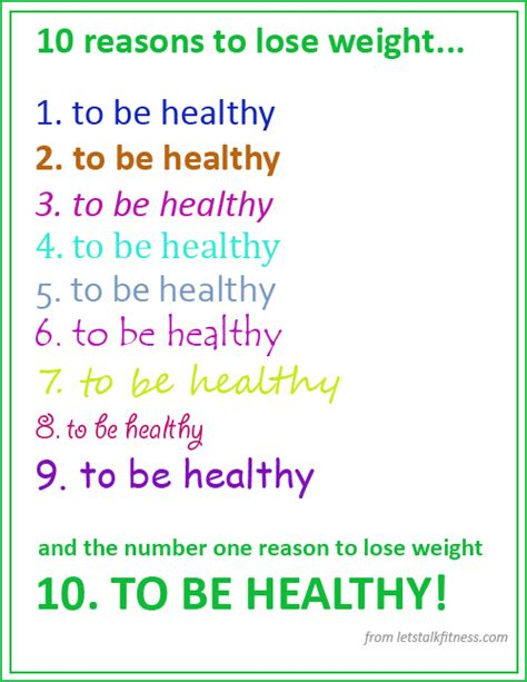 weight loss reasons ten reasons to lose weight lets talk fitness