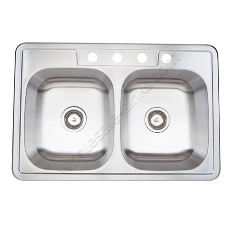 stainless steel overmount sink bowl 18g equal bowls