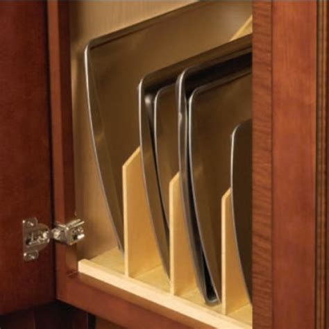 vertical tray dividers kitchen cabinets baking sheet storage good exle of prefab tray dividers