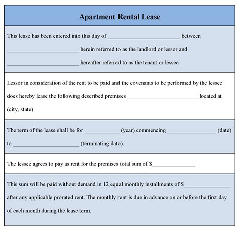 doc 12751650 printable lease agreement simple rental