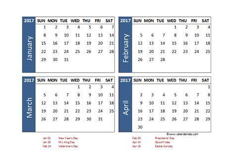 Calendar 2018 4 Months Per Page 2 Month Per Page Printable Calendar Template 2016