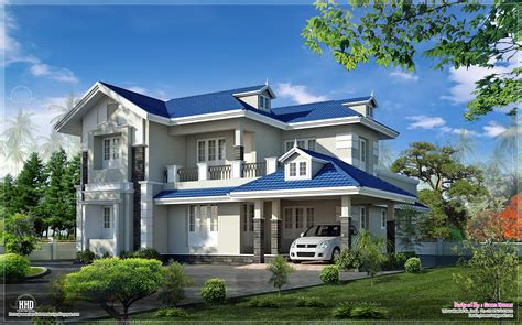 Two Story Colonial House Plans by Beautiful 4 Bedroom Villa Exterior Kerala Home Design
