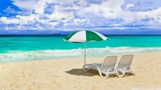 Nature beach sand shore chairs umbrellas sunny 1920x1080 wallpaper art