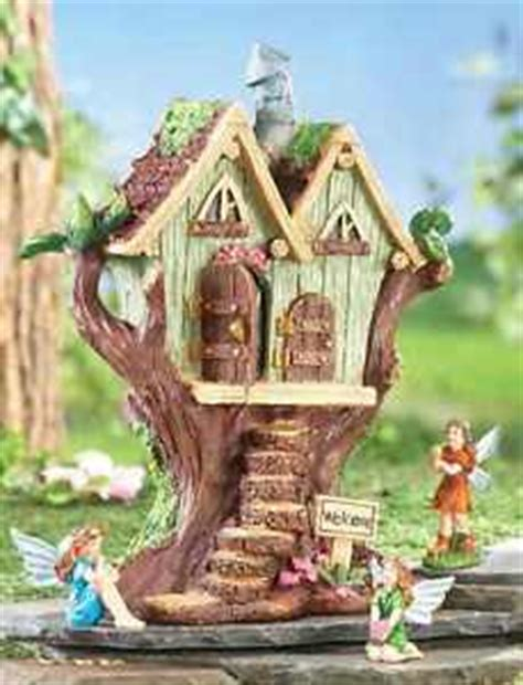 Decorative Fairy Tree House With 3 Fairy Figurine Outdoor | decorative fairy tree house with 3 fairy figurine outdoor