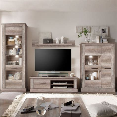 Montreal Living Room Furniture Set In Canyon Oak With Led Country Living Room Furniture Collection