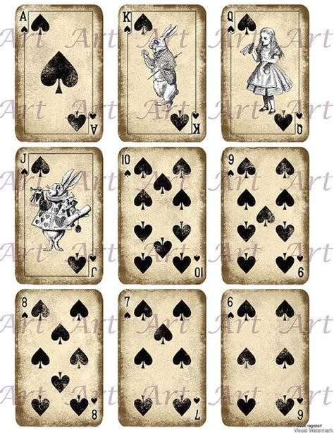 playing card print etsy alice in wonderland play card printable whimsical
