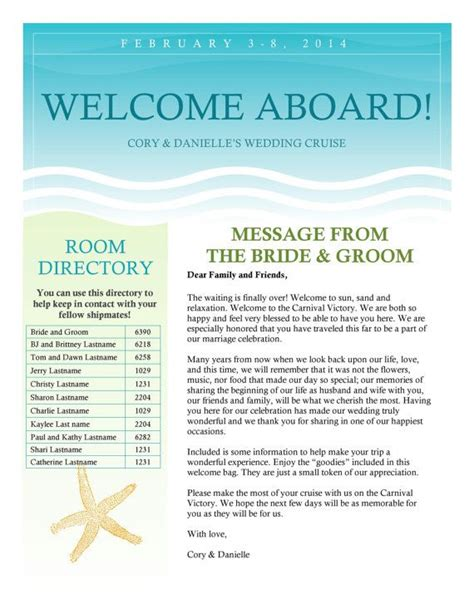wedding welcome letter template cruise wedding welcome letter newsletter by pictureperfectbooks 25 00 wedding