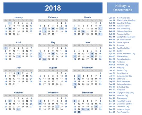 2018 Calendar United States Calendar For 2018 With Holidays Usa Archives Letter