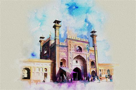 Buy Duvet Covers Badshahi Mosque Gate Painting By Catf