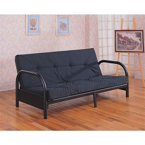 coaster futon coaster metal full size futon frame with small armrest in