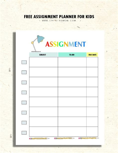 printable assignment organizer printable assignment planner for kids and teens