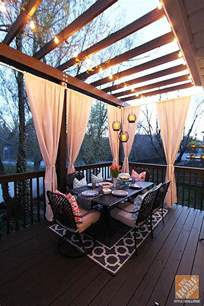 decorating decks deck decorating ideas pergola lights and cement planters