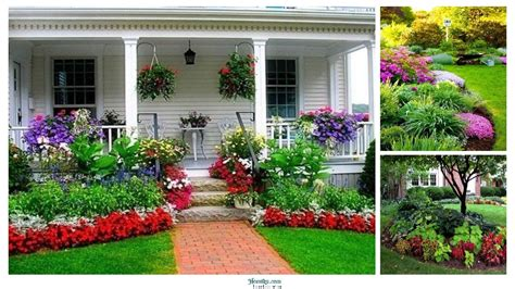 beautiful flower beds  front  house design ideas