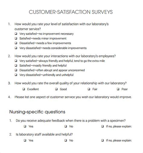 13 Sle Customer Satisfaction Survey Templates To Download Sle Templates Customer Survey Exles Templates