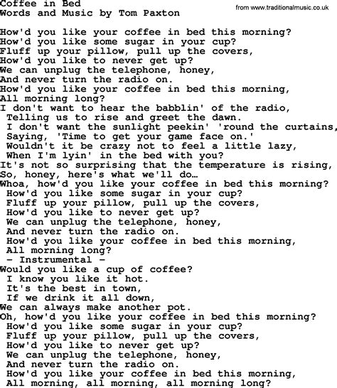 coffee in bed lyrics coffee in bed by tom paxton lyrics