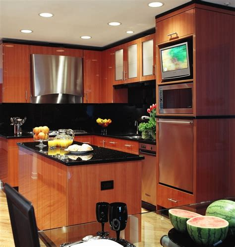 contemporary kitchen cabinets chicago chicago concealed tv kitchen contemporary with island
