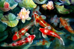 Koi Fish And Lotus Flower Water Fish Pond Koi Artwork Lotus Flower 1504x991