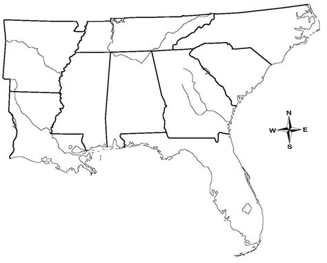 printable map of the southeast united states blank map of southeastern states