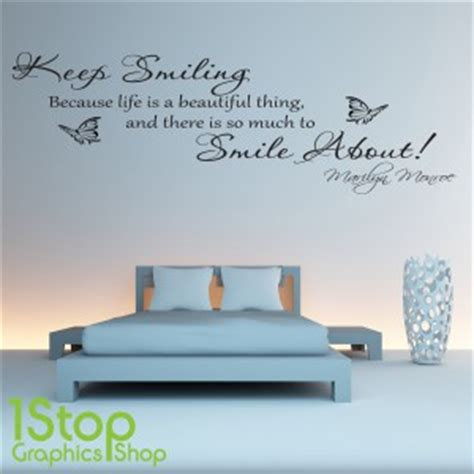 Bedroom Wall Quote Stickers Uk Marilyn Keep Smiling Wall Sticker Quote Bedroom